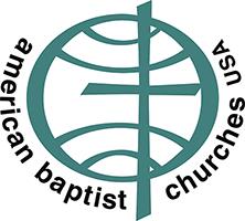 American Baptist Church Logo - Black sans-serif type around teal globe with cross icon