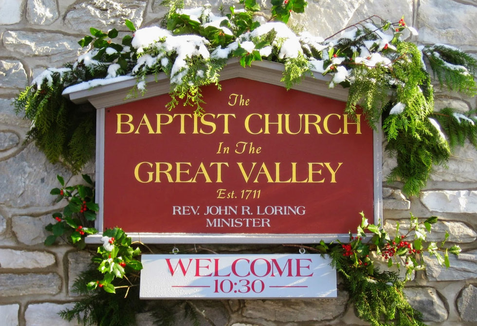 Sign On The Front Of The Baptist Church In The Great Valley