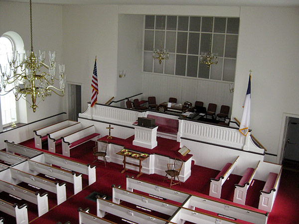 Photo of the interior from the balcony of the Baptist Church in the Great Valley