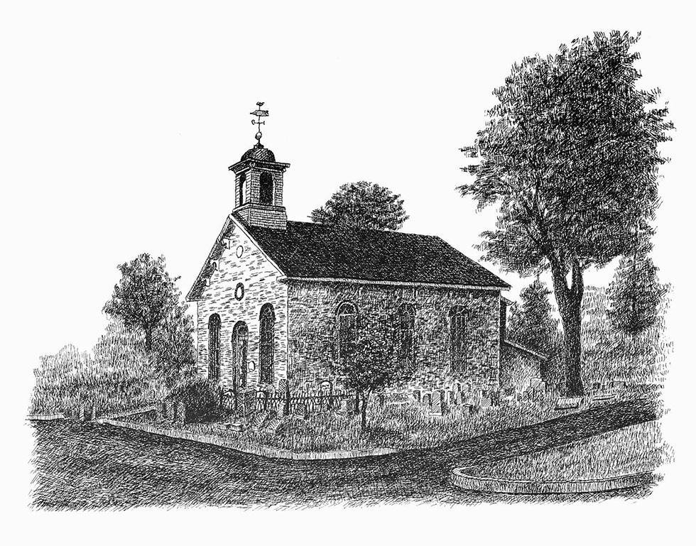 Crosshatch illustration of church with tree by Carmen Camarota