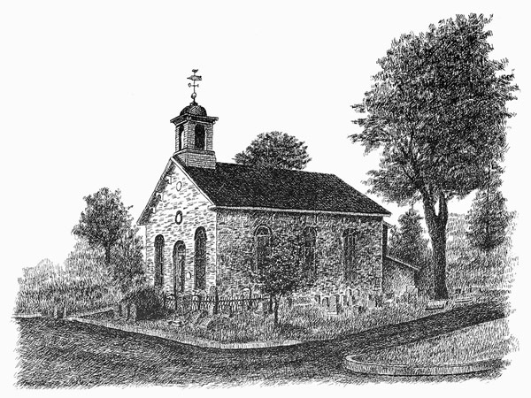 Crosshatch Illustration Of Church With Tree By Carmen Camarota