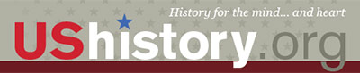 USHistory.org Logo - red, white, abd gray sans-serif type on gray background with stars and red border on bottom